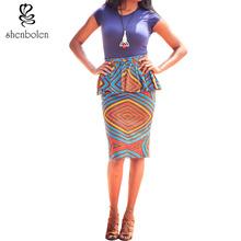 2016 summer African dashiki batik print skirt high waist pencil Knee-length skirt for women pure cotton plus size S-XXXXXL