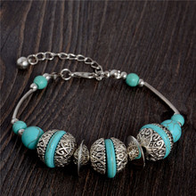 Free Shipping Hot Style Unique Vintage Adjustable Chain Round Bead Charm Fascinating Turquoise Bracelet(China (Mainland))