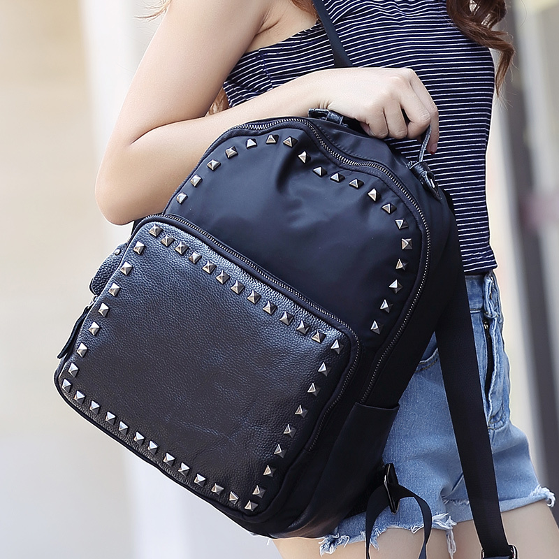 2015 New summer  Korean High Quality  Genuine Leather Women Backpack Preppy style Backpack Rock Rivets For Girls<br><br>Aliexpress