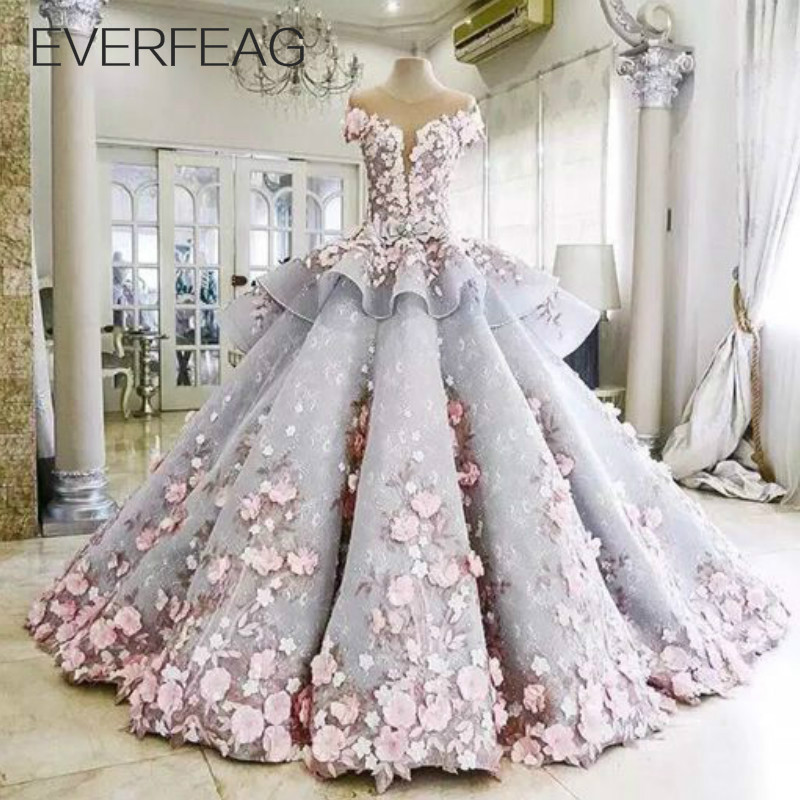 EVERFEAG Floor Length Luxury Ball Gown Maternity Wedding Dress 2016 Bridal Gown with Flowers(China (Mainland))