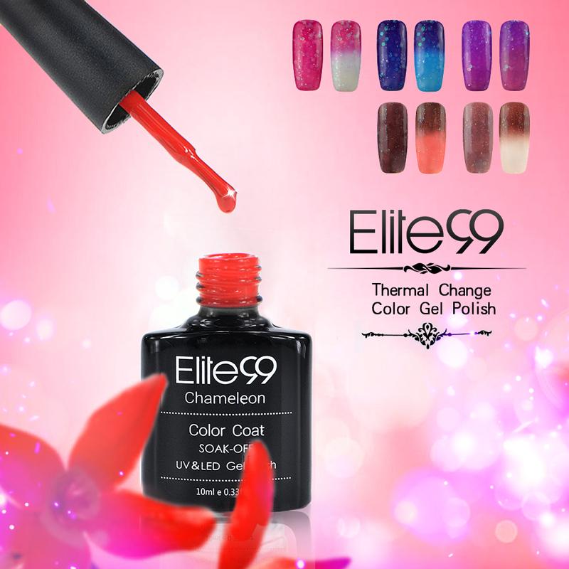 Elite99 Chameleon Changing Temperature Change Color Soak off Gel Polish Full Set UV Gel Kit Manicure Gel Polish 10ml(China (Mainland))