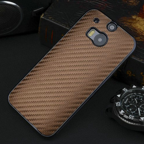"M8 Luxury Business Style Carbon Fiber Chromed Edge Hard Case For HTC One M8 5.0"" Plastic Mobile phone Cases M 8 Back Skin Cover(China (Mainland))"