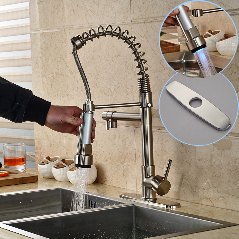 Фотография Luxury Brushed Nickel Spring Kitchen Faucet LED Swivel Spout Mixer Tap Deck Mount Pull Down Style