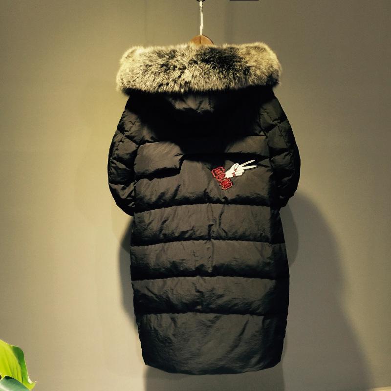 2016 High Quality Winter Jacket Women Fashion Long Black Slim Zipper Thick Sleeve Fur Collar Warm Down Coat White Duck Down