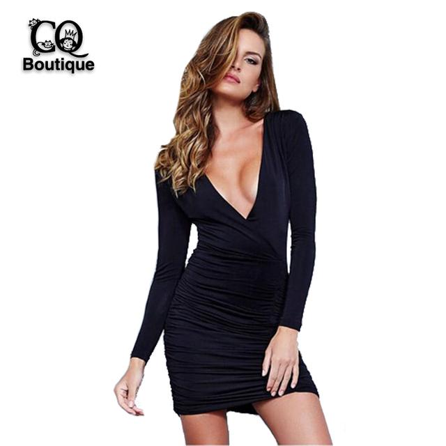 2016 новинка женщины летнее платье твердые сексуальный глубокий v-образным вырезом спинки мини с длинным рукавом платья женские выше колена Vestidos