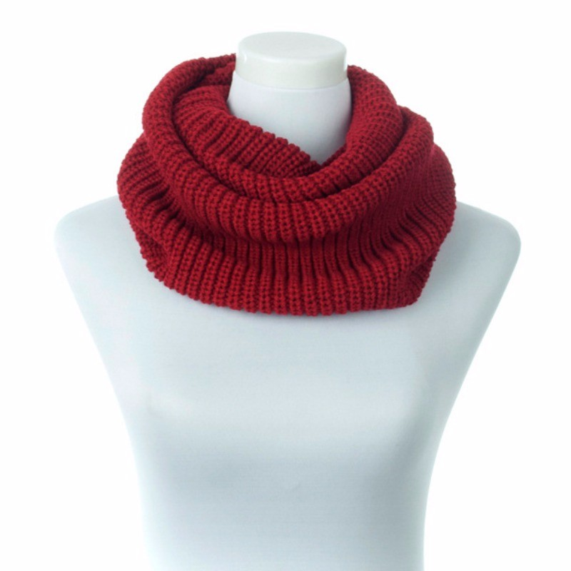 New Hot Women Lady Winter Warm Infinity 2 Circle Cable Knit Cowl Neck Long Scarf Shawl For Women