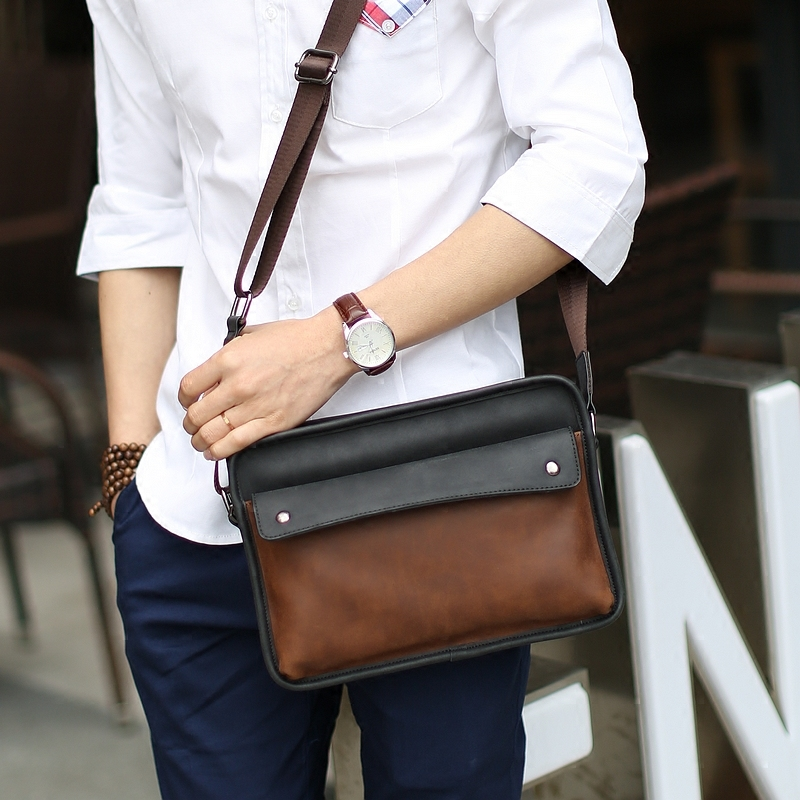 Fashion style men messenger bags vintage pu leather bag briefcase man crossbody bags casual business shoulder bags(China (Mainland))