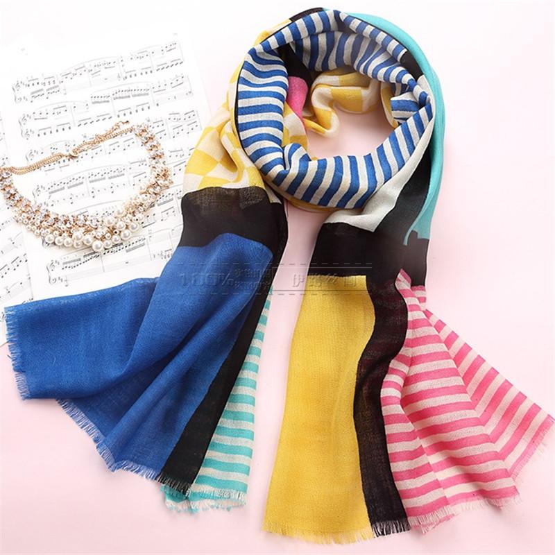 2016 Striped Fashion Women Long Thin Wool Scarf Women Warm Soft Printed Scarves Spring Autumn Winter Style Bufanda Cachecol(China (Mainland))