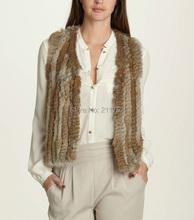 rabbit fur knitted vest slim women's coat - Qiuchen Fur Factory Outlets store