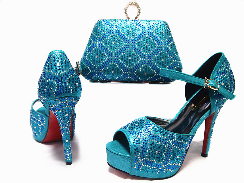Latest Design African Shoes and Bags Matching Set High Heels Shoes and Bag Set Women Pumps Italian Style Wedding and Party Dress