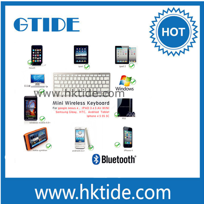 Gtide KB450 silver mini bluetooth wireless keyboard for tablet computer keyboard(China (Mainland))