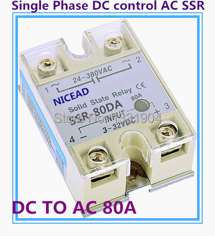 5PCS/LOT Single phase solid state relay DC  to AC SSR-80DA 80A SSR relay input DC output AC<br><br>Aliexpress