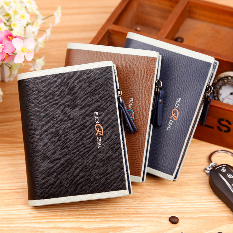 New Fashion Men Card Bit Buttons Wallets Muti Enterprise Short Brand Wallet Money Zipper Wallets Card