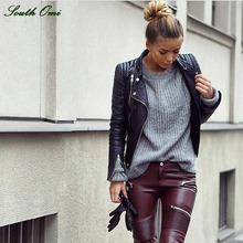 South Omi Motorcycle Black leather jackets women Brand fashion pu leather coats Sexy bomber female outwear fall 2015 New Fashion(China (Mainland))