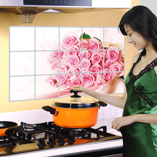 wall stickers Kitchen stickers oil stove tile stickers aluminum foil heatresisting furnishings wall stickers 7(China (Mainland))