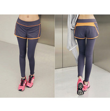 autumn women sports faux two piece high waist elastic fitness clothing female gym exercise running pants