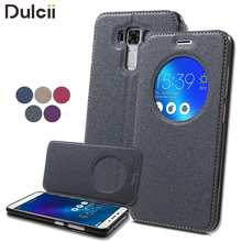coque fundas for Asus Zenfone 3 Laser Sand-like Texture View Window Leather Smart Phone Case for Asus Zenfone 3 Laser ZC551KL(China (Mainland))