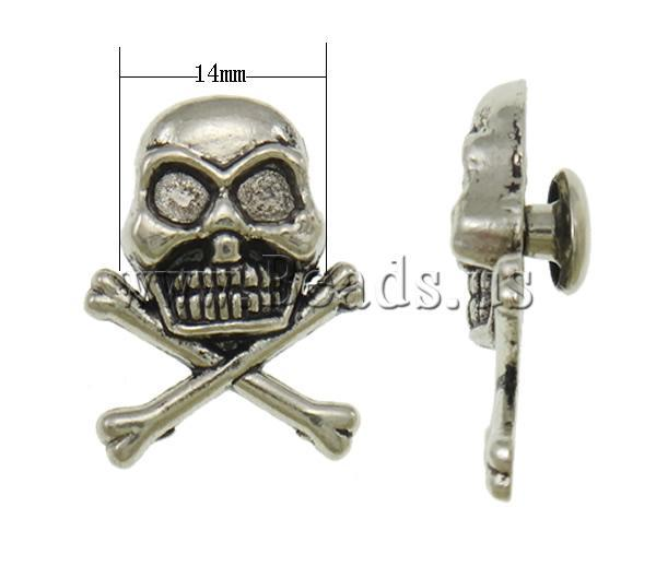 Free shipping!!!Zinc Alloy Screw Rivet,DIY,Jewelry DIY, Skull, silver color plated, blacken, nickel, lead & cadmium free