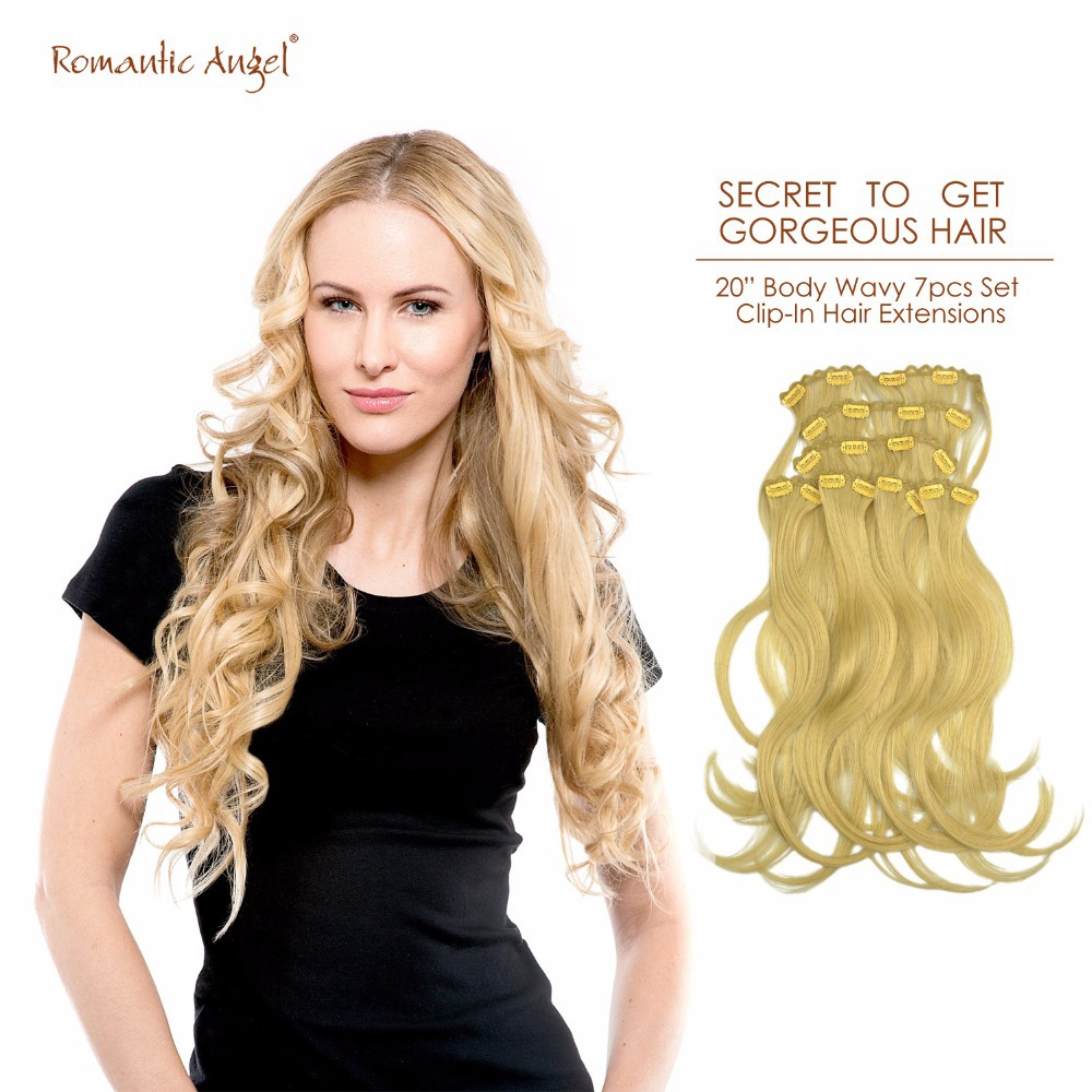 "Фотография 20"" 50cm Body Wavy Clip-In Hair Extensions 100% Remy Human Hair 85g 7pcs Set Free Shipping"