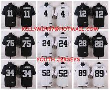 Stitiched,Oakland Raiders,Amari Cooper,Derek Carr,Khalil Mack,Charles Woodson,Sebastian Janikowski,Latavius Murray for youth,kid(China (Mainland))