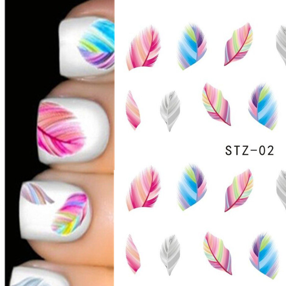 1x Sexy Makeup Styles Water Transfer Stickers Nail Art Beauty Colorful Feather Tattoos Nail Decals Manicure Tips ST-02(China (Mainland))
