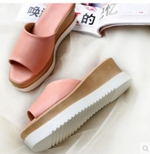 Lady Cheap Soild Okobo Anti skip Thick high heels Plus size42 43 sandals Sipper girls Casual