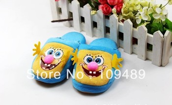 Free EMS Shipping SpongeBob Plush Slippers for Child Kid 4 corlor available 50/Lot Wholesale