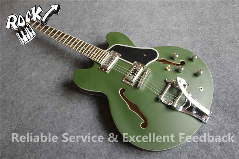 Custom Shop Matte Green ES 335 Guitar Hollow Body Bigspy Tremolo & Chinese Musical Instruments(China (Mainland))