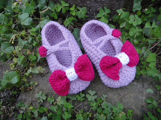 wholesale Handmade Crochet Baby Shoes with bows footwear kids plain soft shoes girl purple bootie Newborn Gift Shoes 24pcs/lot