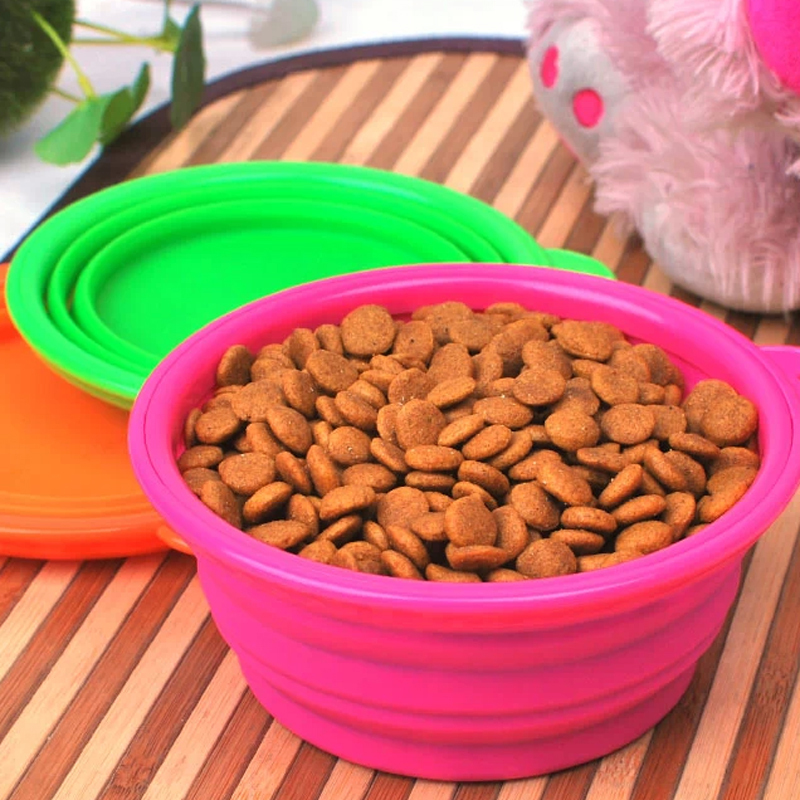1 x Dogs/Cats Pet Portable Silicone Collapsible Travel Feeding Bowl Water Dish Feeder Free Shipping(China (Mainland))