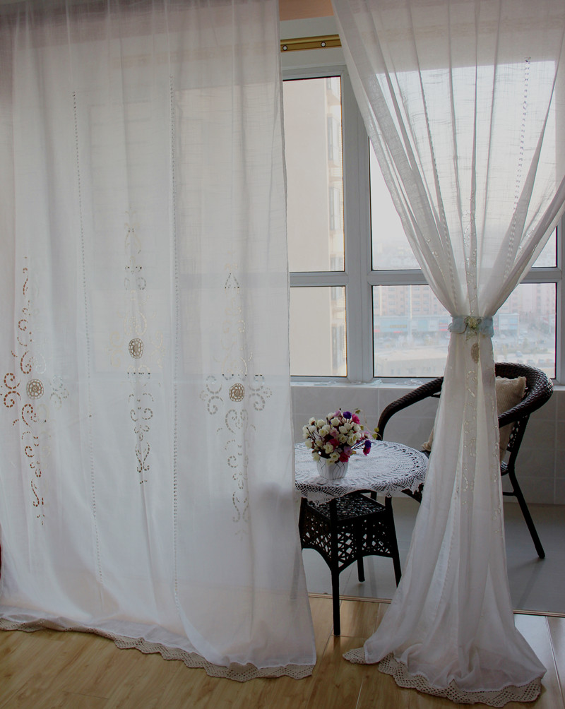Free shipping Pastoral style adjustable balloon curtain, living room shade,white window treatment, curtains for windows(China (Mainland))