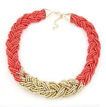 2015 New Fashion Necklace Charm Chain Statement Bib Necklace Twist Beads Necklaces Jewelry For Women