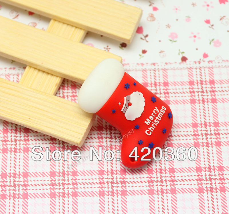 Wholesale Hot Cheap Red Christmas stocking Gift Toy Model 4-32GB USB 2.0 Flash Memory Stick Drive Thumb/Car/ Gift--free shipping(China (Mainland))