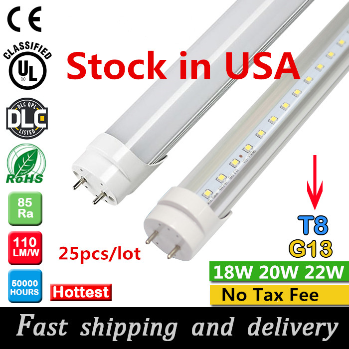 Stock In USA + 4ft led tube 18W 20w 22W free shipping T8 1.2m Led Lights Tubes AC 110-240V No Tax Fee(China (Mainland))