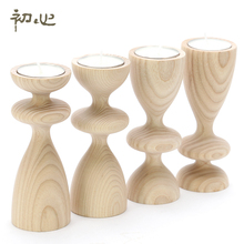 Ash wood mousse candlestick wooden candle holders stand wedding props candle home decoration romantic accessories(China (Mainland))