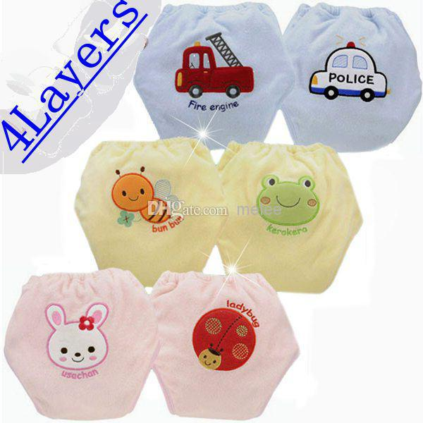 DHL Fedex EMS Infant 4 Layers Potty Training Pant Nissen Baby Training Pants Baby PP Pants Infant Diapers Nappies Accept Sizes C(China (Mainland))