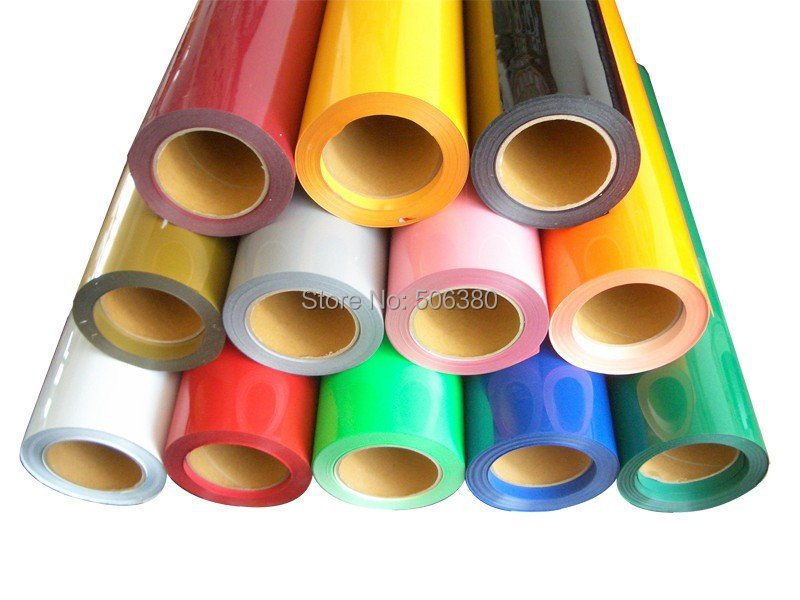 "5 Rolls 20"" x3' Heat Transfer PU Vinyl With Sticky Back 33colors Cutter Press(China (Mainland))"