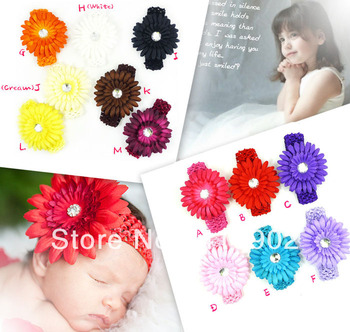 "LOT 10 SET Baby Girls 4"" Crystal Daisy Flower Clip + 1.5"" Crochet Headband Hair Bands 13 Colors Available"
