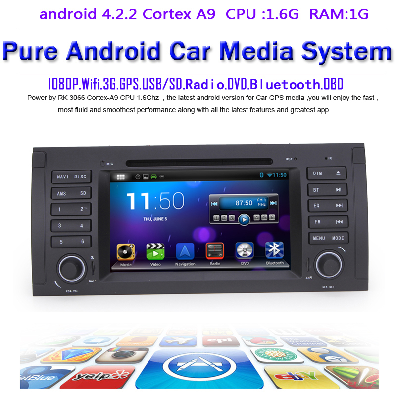 Pure android 4.2.2 Car DVD GPS BMW E39 E53 X5 Capacitive screen 1.6G CPU Dual Core 1G RAM Radio Tape Recorder Stereo - Quick Krist's store