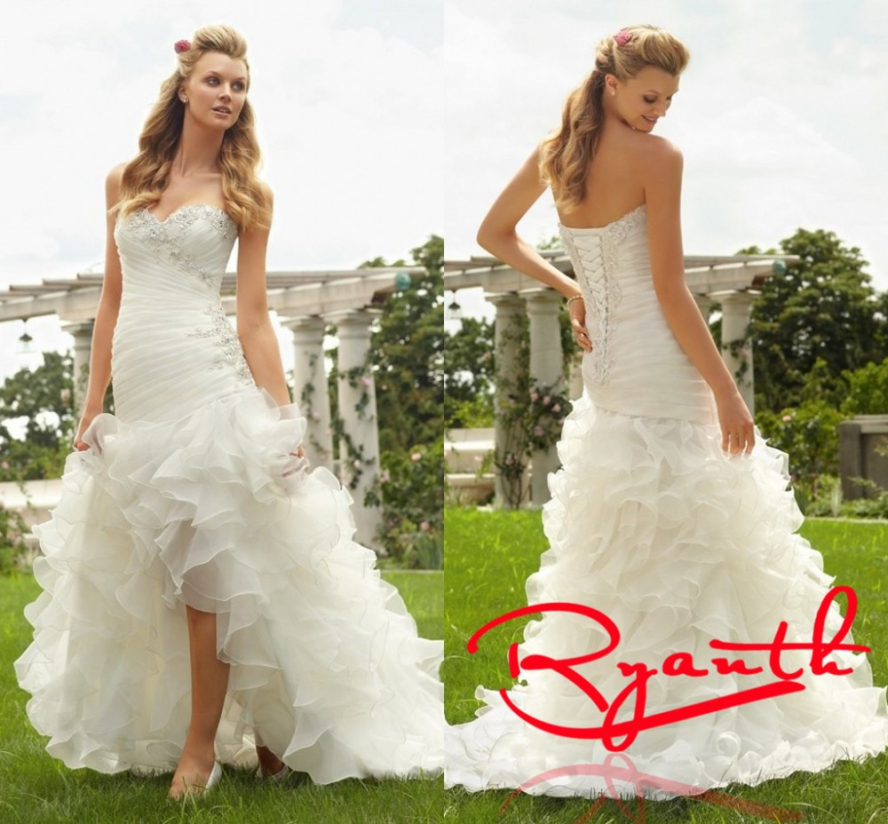 Rbc732 fashionable high low wedding dresses ruched ruffles for Country western wedding dresses
