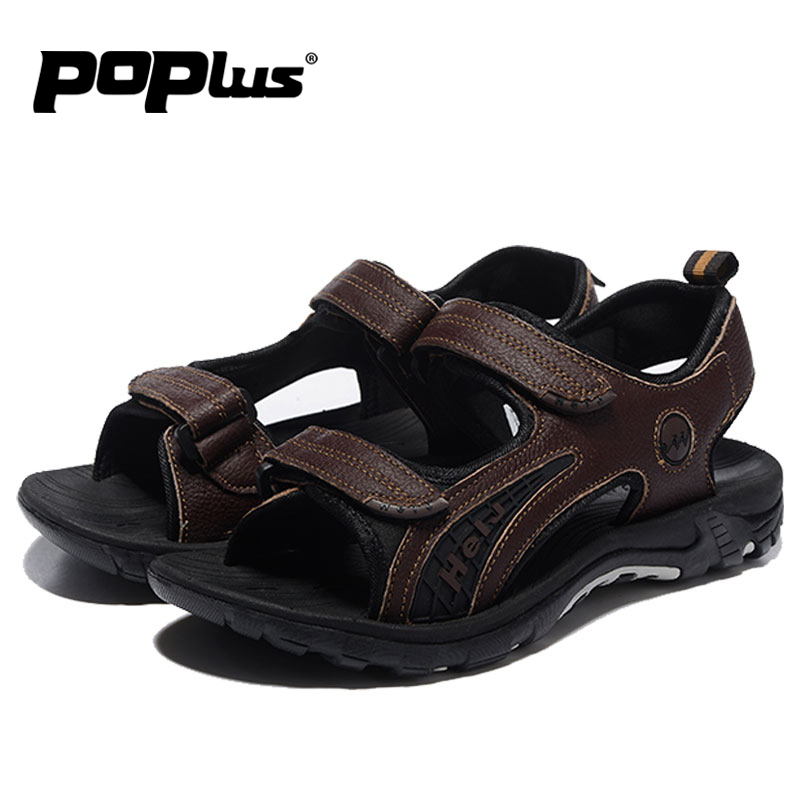Mens Sandals 2016 summer Leather Beach Sandals for male Outdoor walking shoes casual footwear<br><br>Aliexpress