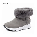 Willa s Dance Women Boots 2016 Fashion Slip on Pointed Toe Plush Snow Boots Woman High