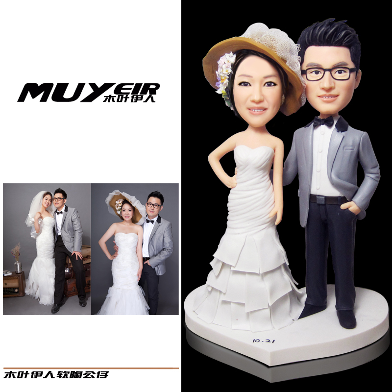 Valentine's Day Gift Personalize customize wedding decoration 18cm bride groom cake topper Birthday Anniversary Ideas DIY dolls(China (Mainland))