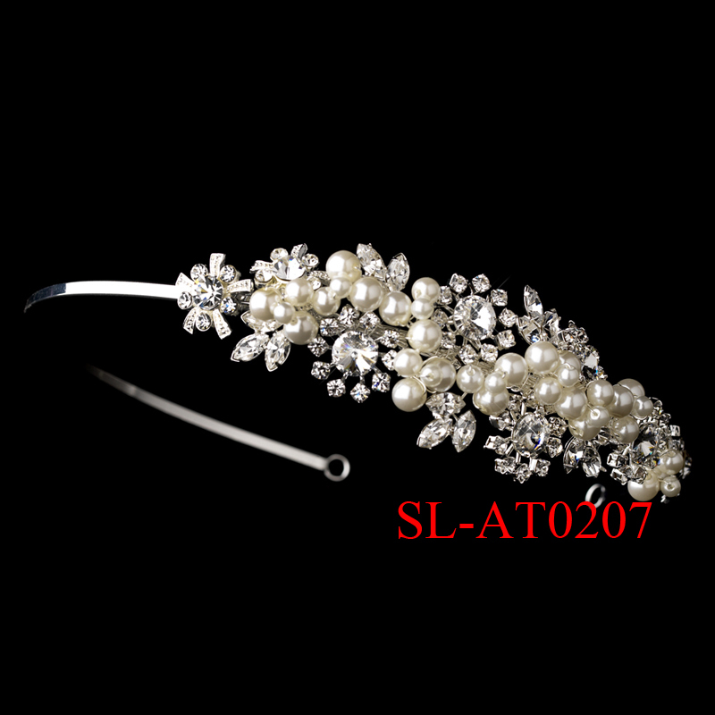 Wedding Tiara Bridal Crown Pearls Headband SL-AT0207(China (Mainland))