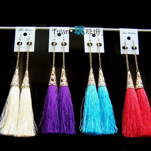 Beach Tassels Jewelry Colorful Luxury Gold Metal Chain Long Dangle