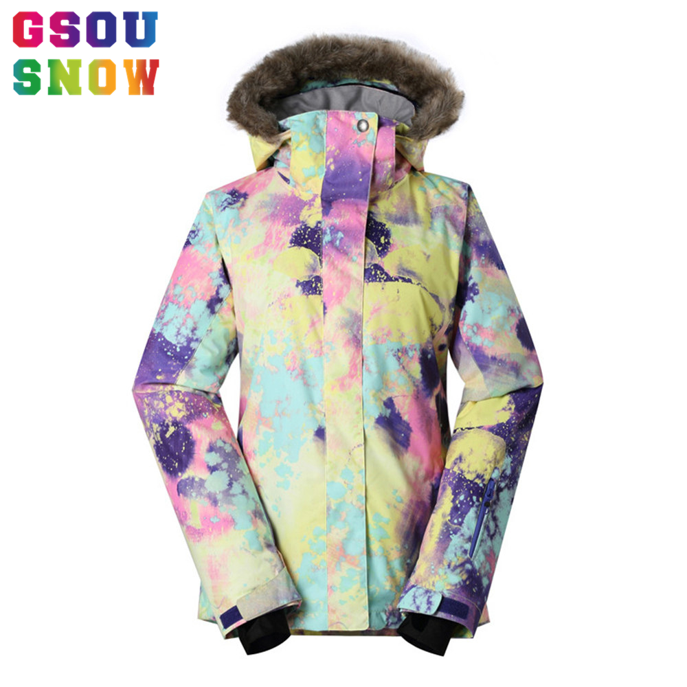 Gsou Snow Brand Professional Women Ski Jacket Thicken Warmth Fur Hooded Snowboard Jacket Thermal Breathable Waterproof Snow Coat(China (Mainland))
