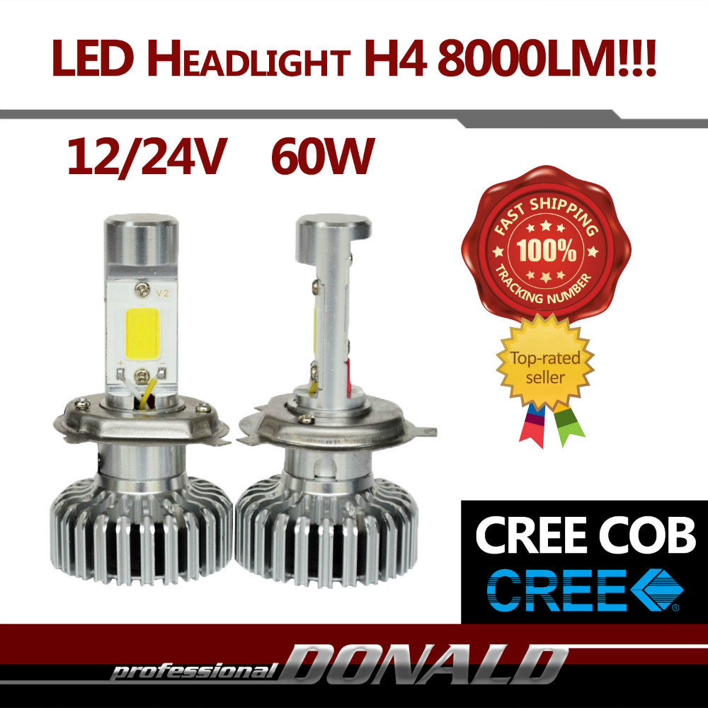 Pair H4 60W/Set 8000LM CREE COB LED Hi Lo Beam Lamp Car Auto Headlight 6000K White Fog Headlight Easy Install(China (Mainland))