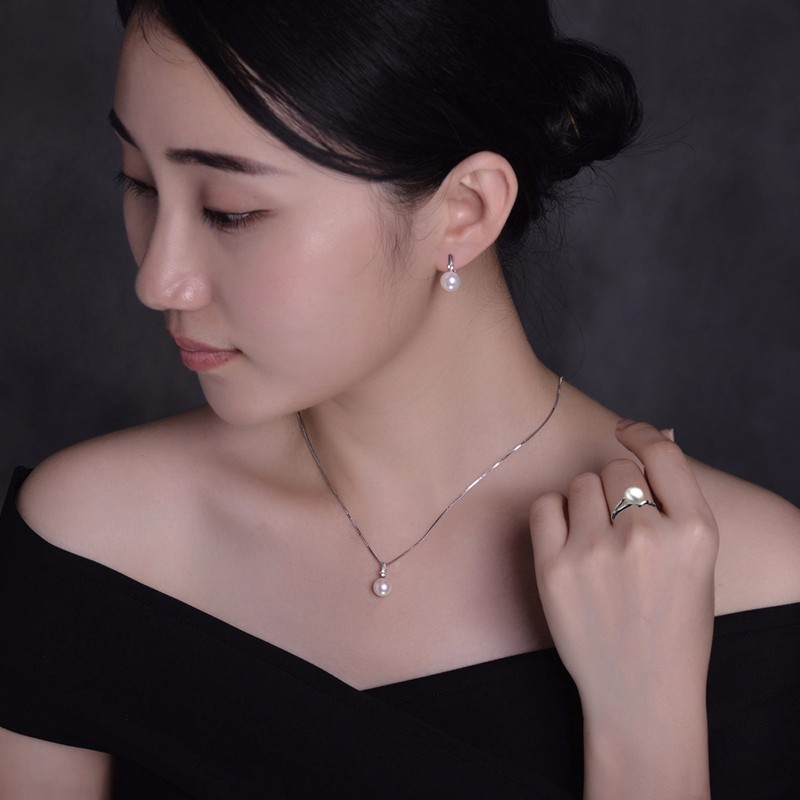 TZ4187EB Pearl earring necklace ring set  (2)