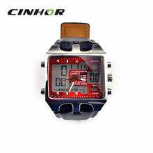 Ohsen AD0930 con estilo del deporte de hombre analógico + Digital de cuarzo reloj de pulsera – negro + rojo ( 1 x CR-2025 )