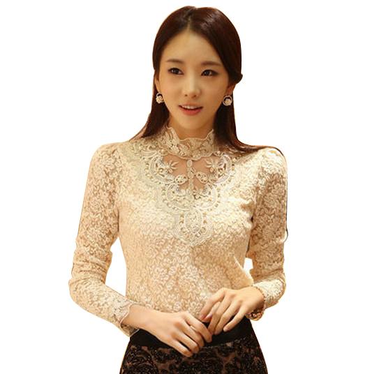 New Spring 2016 Women Crochet Blouse Lace Chiffon Shirt Women Clothing Basic Shirt Vintage Blouses & Shirts(China (Mainland))